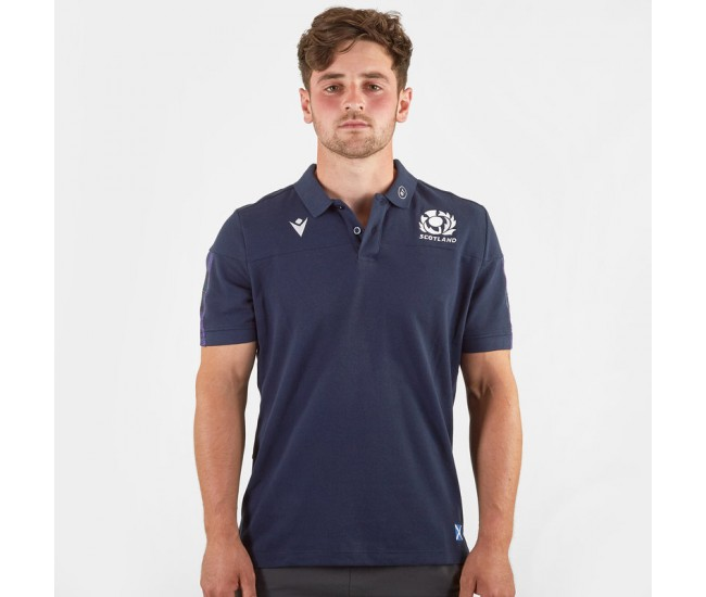 Macron Scotland 2019 2020 Travel Rugby Polo Shirt